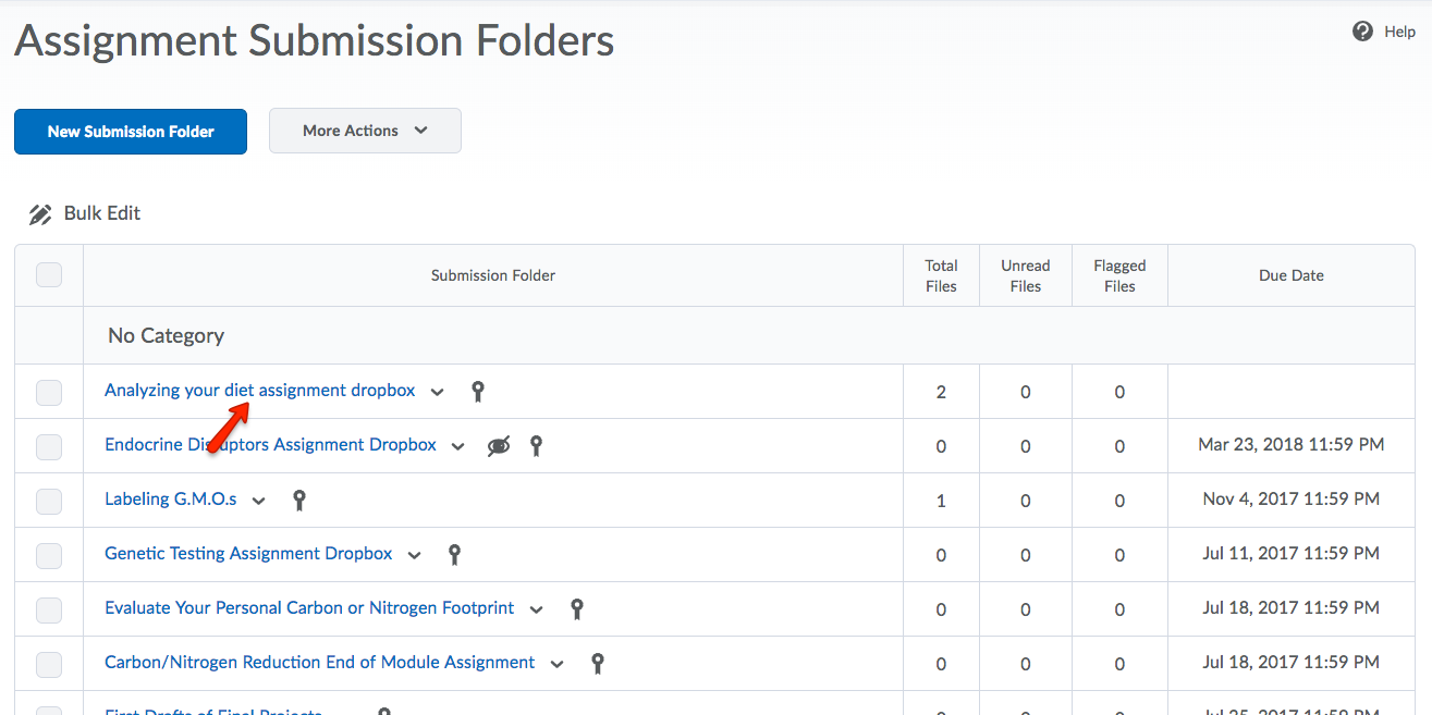 Click the title of the assignment dropbox folder that you want to assess.