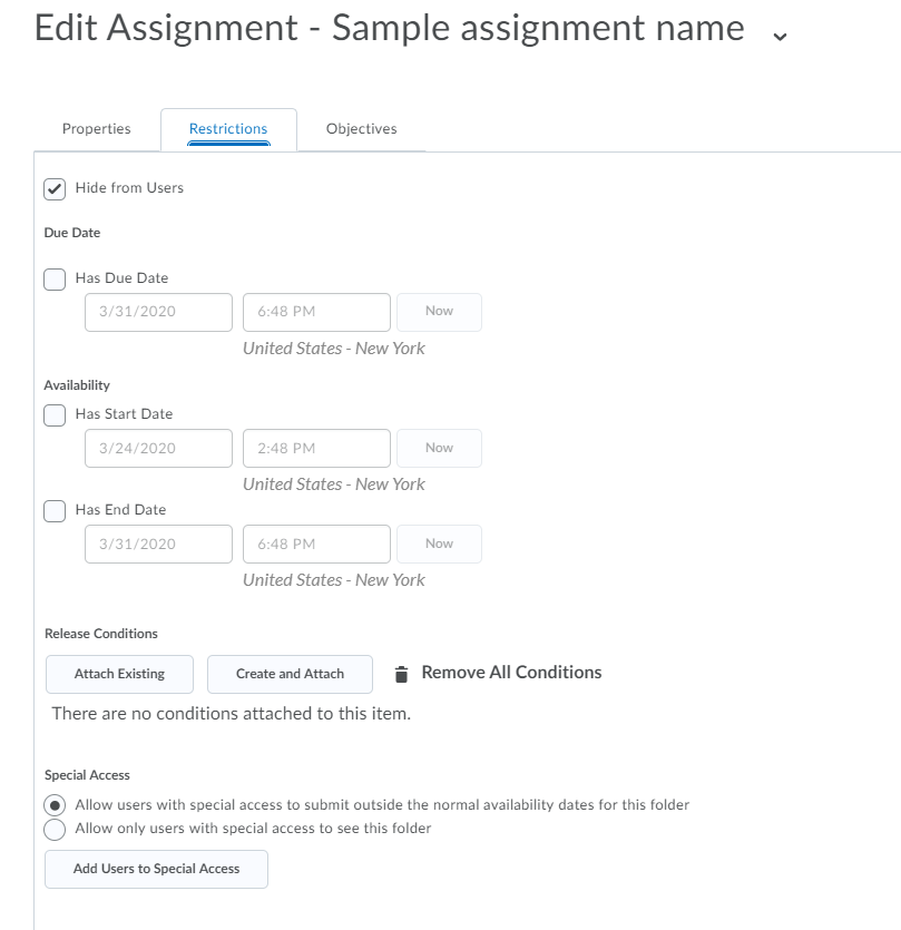 Restrictions tab in assignment
