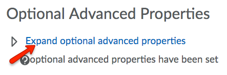 Optional Advanced Properties