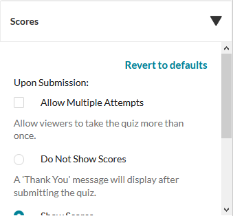 Quiz scores options