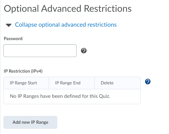 optional advanced restrictions