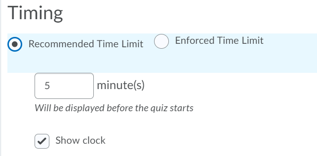 recommended time limit settings
