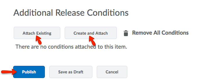 Adding release conditions to a new Announcements item
