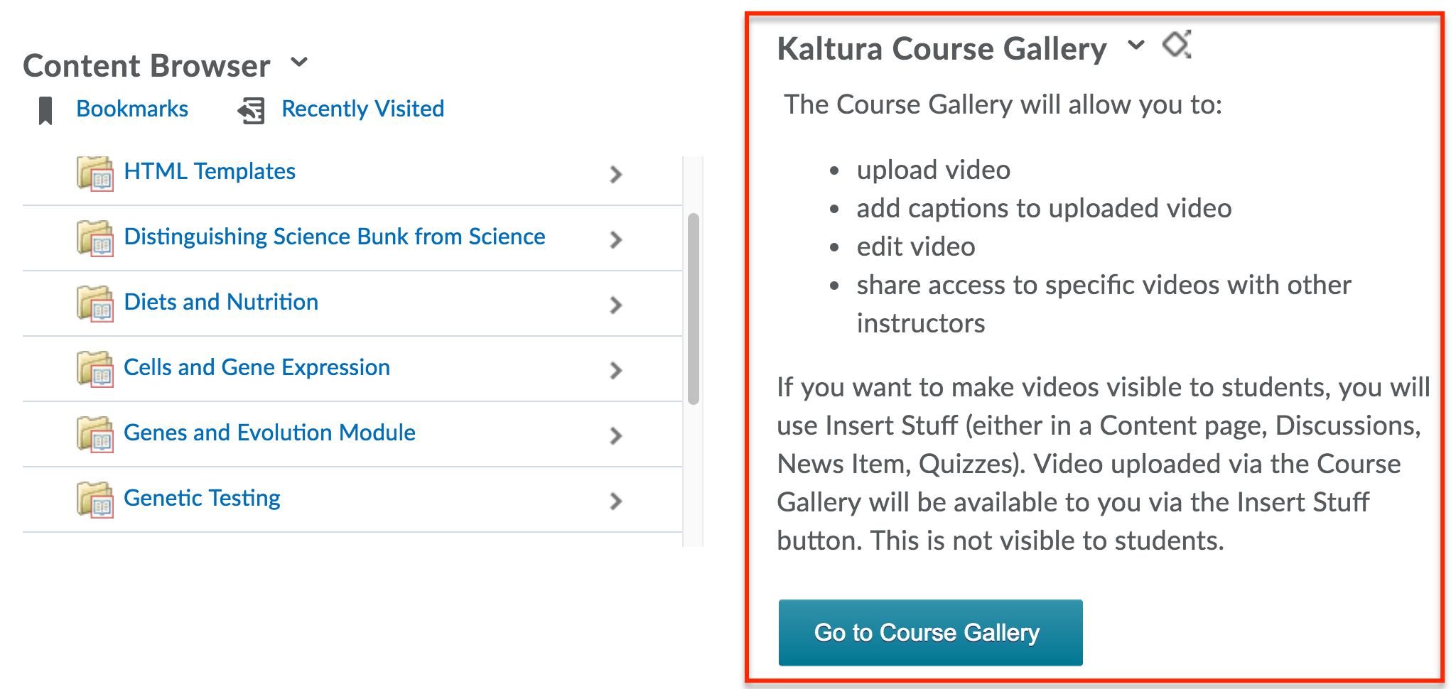 Course Gallery widget is now present on your Course homepage.