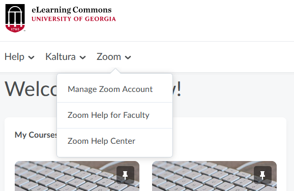 Zoom menu on eLC homepage navbar