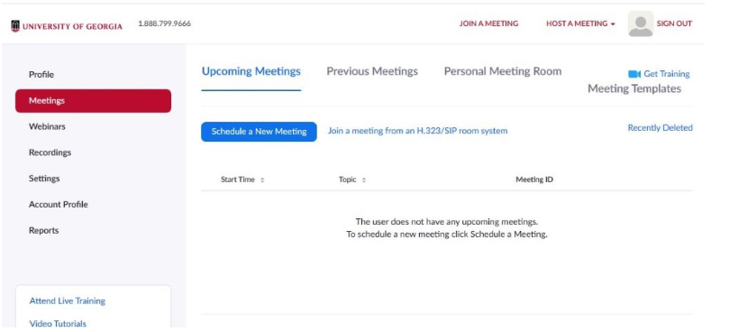 List of zoom meetings in the account