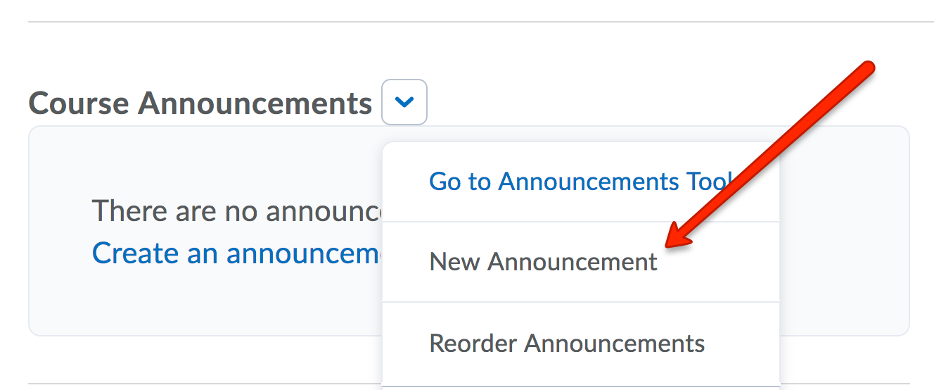 Announcements drop-down menu