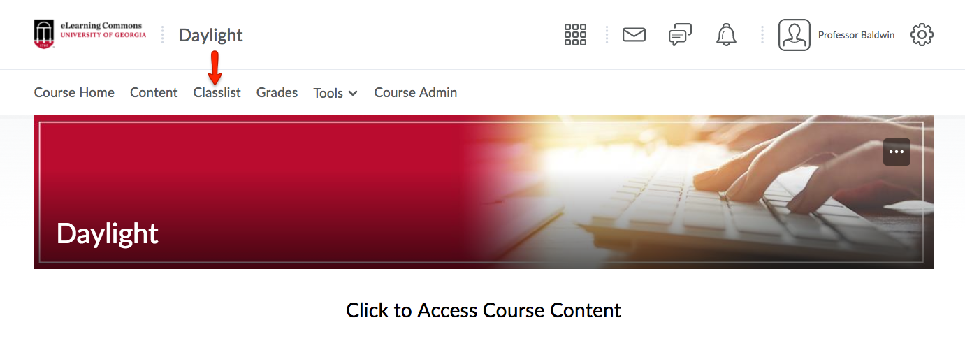 Select the Classlist link from the Course Navbar.