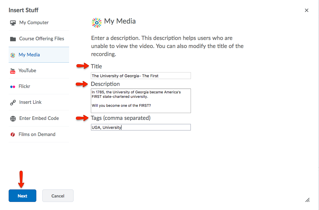 Give your file a title, description, and tags. Click Next.