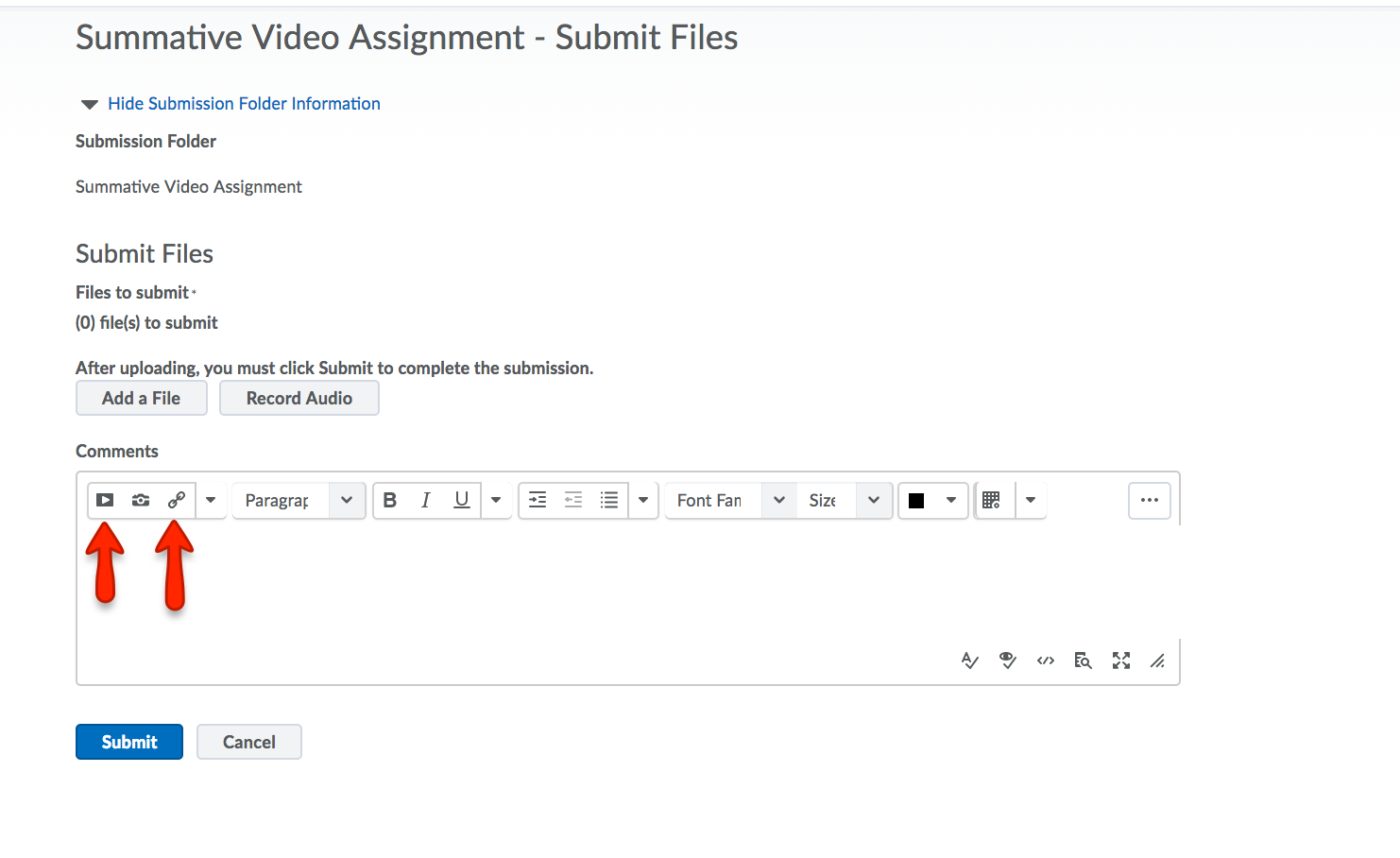 Video Assignment dropbox
