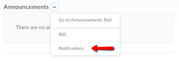 Access notifications from announcements menu